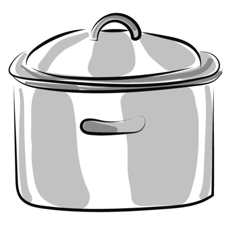 Silver cooking pan, illustration, vector on white background Ilustracja