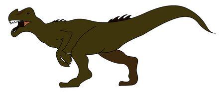 Allosaurus walking, illustration, vector on white background.