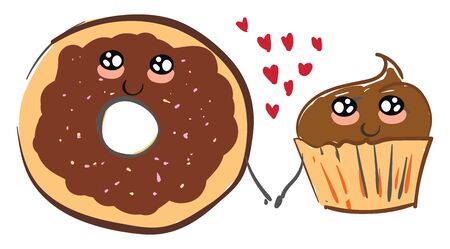 A chocolate donut and a cupcake holding hands with red heart in between, vector, color drawing or illustration.
