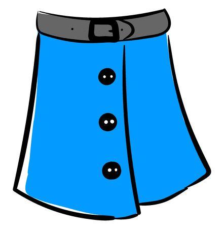 Blue woman skirt, illustration, vector on white background. Vetores