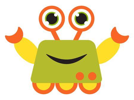 Happy robot, illustration, vector on white background.