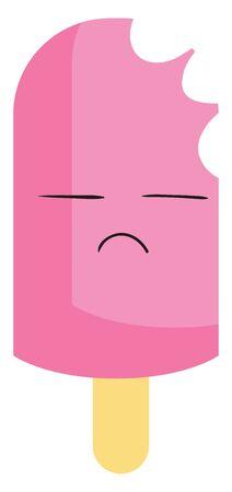 Eaten pink ice cream, illustration, vector on white background. Illustration