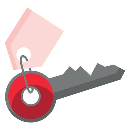 A red key with a pink key holder, vector, color drawing or illustration.