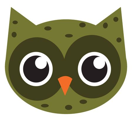 Cute green owl, illustration, vector on white background. Stok Fotoğraf - 132800571
