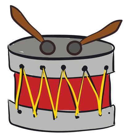 A snare drum instrument with two sticks, vector, color drawing or illustration.  イラスト・ベクター素材