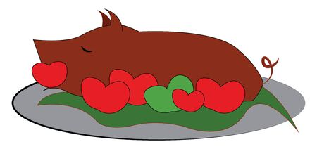 Fully roasted brown pig with tomatoes, vector, color drawing or illustration. Archivio Fotografico - 132789659