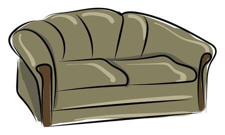 Big grey sofa, illustration, vector on white background.