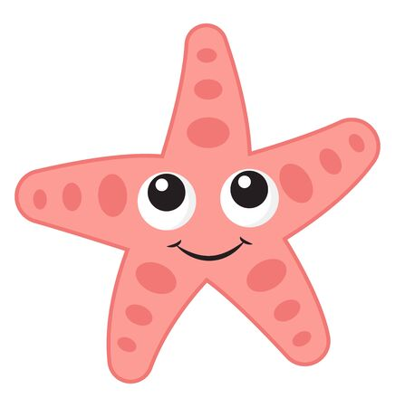 Pink sea star, illustration, vector on white background