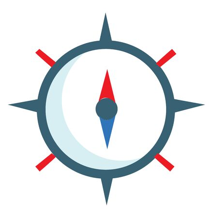 A brown compass with red and blue magnetic needle, vector, color drawing or illustration. Çizim