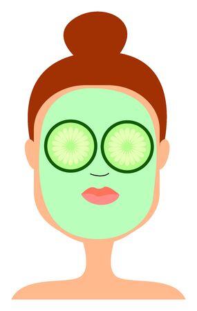 Cucumber mask on girl, illustration, vector on white background.
