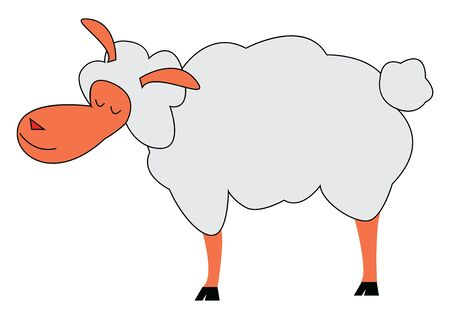 A cartoon of a happy lamb, vector, color drawing or illustration.