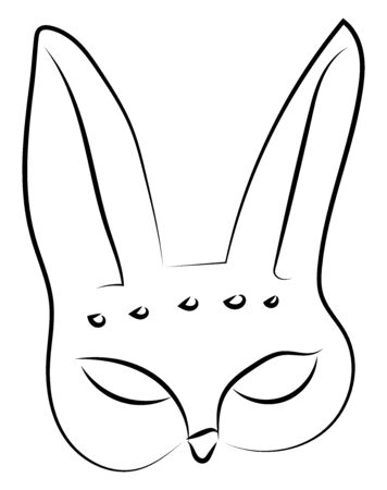 Hare mask drawing, illustration, vector on white background.