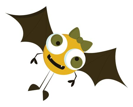 A small yellow monster with a bow, vector, color drawing or illustration.