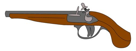 Musket old gun, illustration, vector on white background.