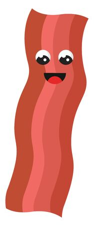Bacon with eyes, illustration, vector on white background.