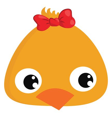 Cute female chick, illustration, vector on white background. Çizim