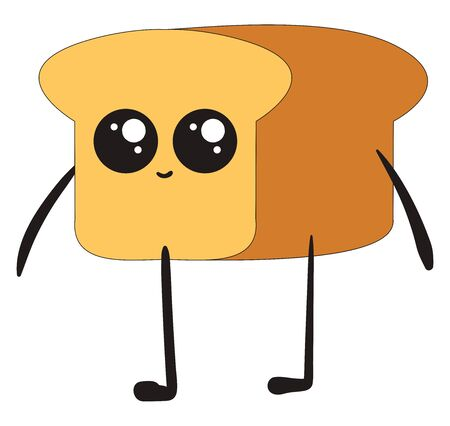 Happy bread loaf, illustration, vector on white background.