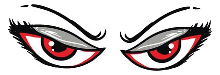Pair of angry red eyes, illustration, vector on white background. Ilustração