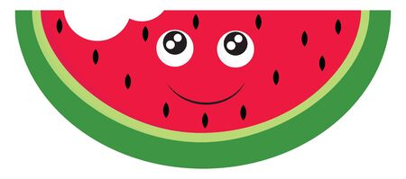 A tasty watermelon with a bite, vector, color drawing or illustration. 일러스트