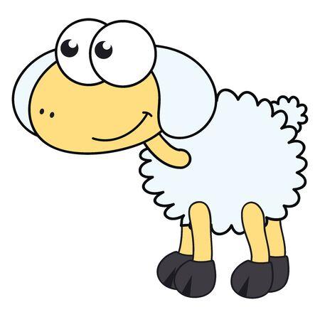 Cute little sheep, illustration, vector on white background. Ilustração