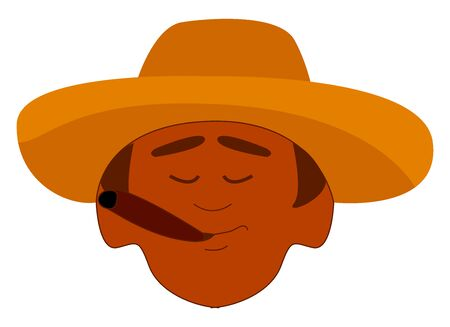 Cuban with hat, illustration, vector on white background.