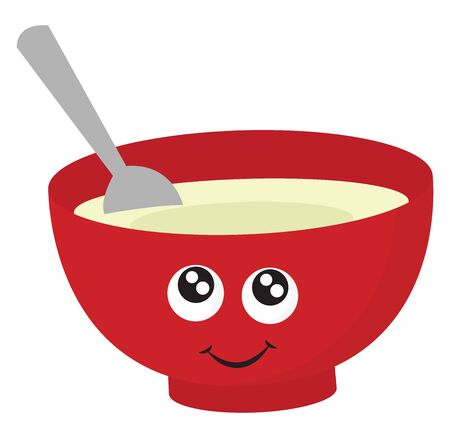 Soup in red bowl, illustration, vector on white background.