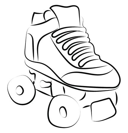 Roller skate sketch, illustration, vector on white background.