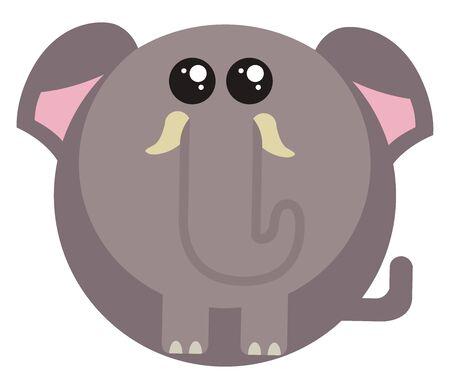 Fat little elephant, illustration, vector on white background.