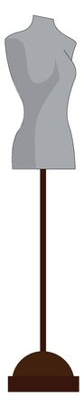 A gray female body mannequin with a wood stand, vector, color drawing or illustration.