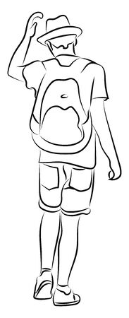 Boy with backpack and hat, illustration, vector on white background.