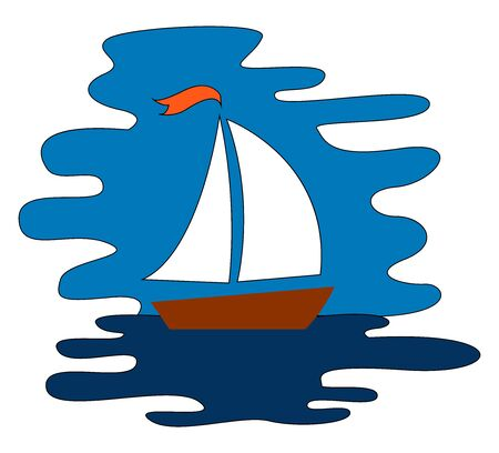 Sailboat at sea, illustration, vector on white background. Illustration