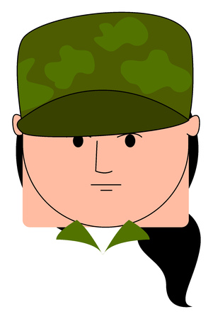 Girl soldier with hat, illustration, vector on white background.