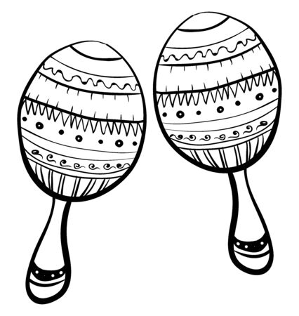 Maracas drawing, illustration, vector on white background.