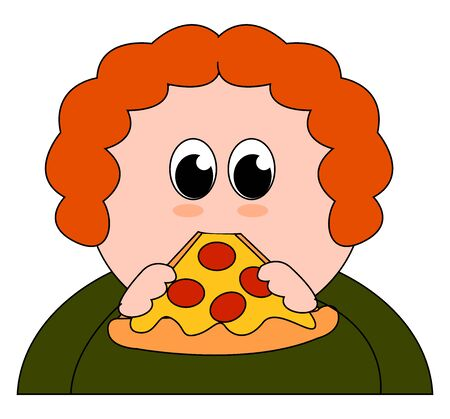 fat boy eating pizza, illustration, vector on white background.
