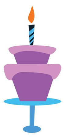 A purple cake with a single candle glowing on its top, vector, color drawing or illustration.