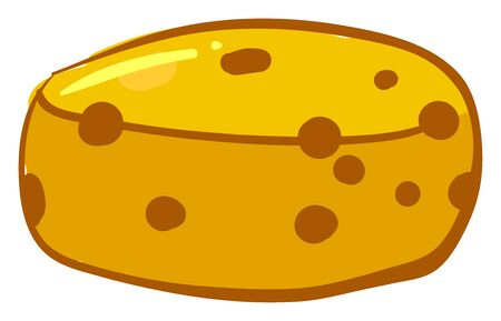 Big round cheese, illustration, vector on white background
