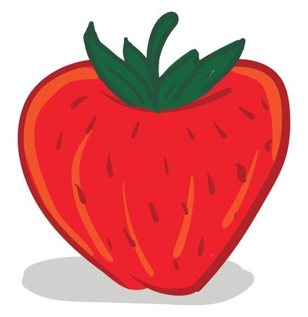 A fresh and juicy red cartoon of a strawberry, vector, color drawing or illustration.
