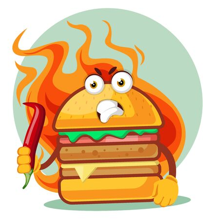 Hot angry burger is holding a chili pepper, illustration, vector on white background. Archivio Fotografico - 132797089