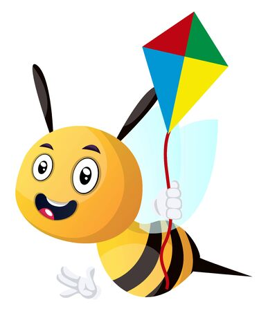 Bee holding a kite, illustration, vector on white background. Çizim