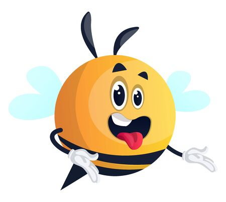 Bee with open mouth, illustration, vector on white background. Illusztráció