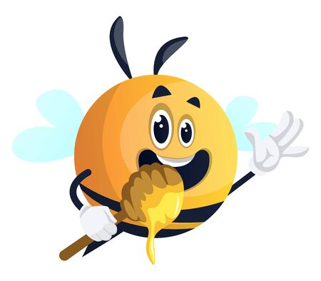 Bee waving and holding spoon, illustration, vector on white background.
