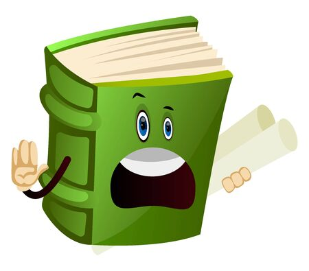 Cartoon book character is giving instructions, illustration, vector on white background.