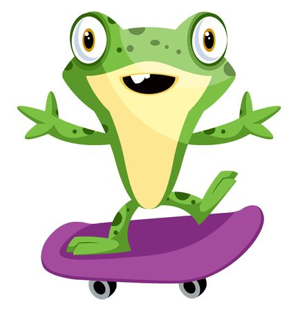 Cheerful cartoon baby frog riding a skateboard, illustration, vector on white background.