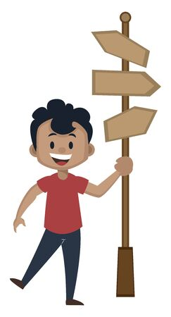 Boy is holding  road direction signs, illustration, vector on white background.