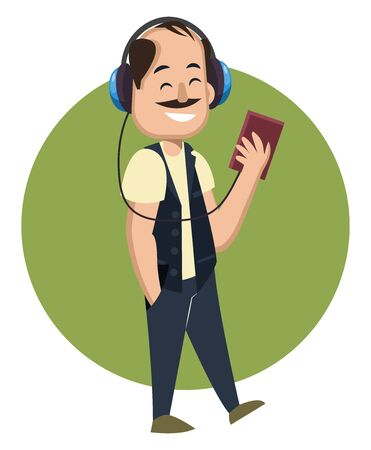 Man with headphones, illustration, vector on white background.