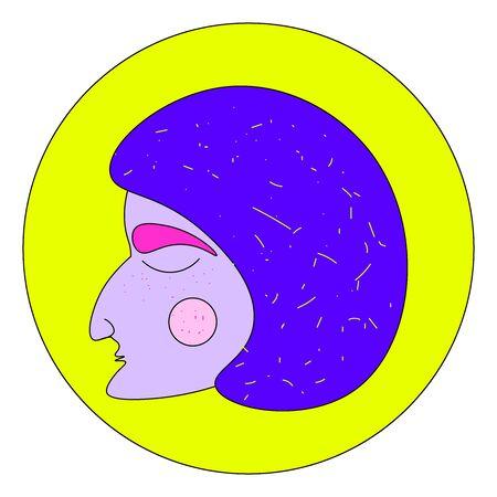 Woman with huge nose, illustration, vector on white background. Ilustração