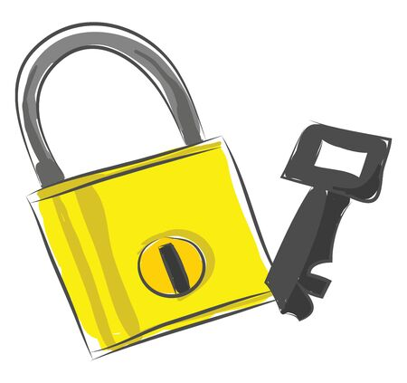 A color yellow lock and a key, vector, color drawing or illustration.