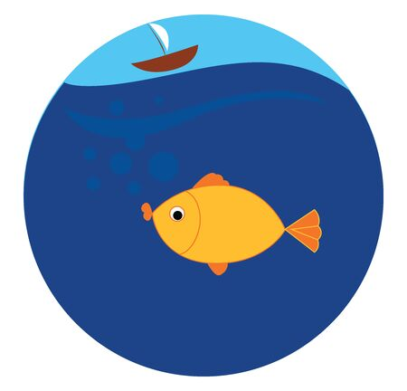 Yellow fish with boat, illustration, vector on white background.