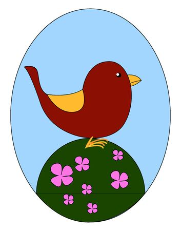 Cute red bird in flowers, illustration, vector on white background.