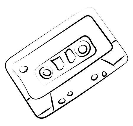 Cassette sketch, illustration, vector on white background.